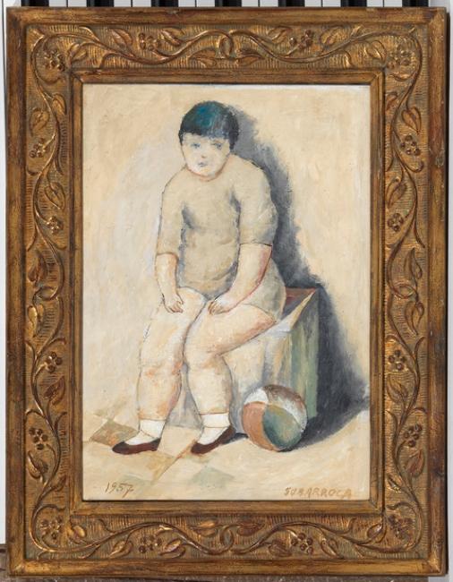 Francesc Subarroca, Nen amb pilota, 1957 - oli sobre tela — Cortesía del Consorci Museu d'Art Contemporani de Mataró