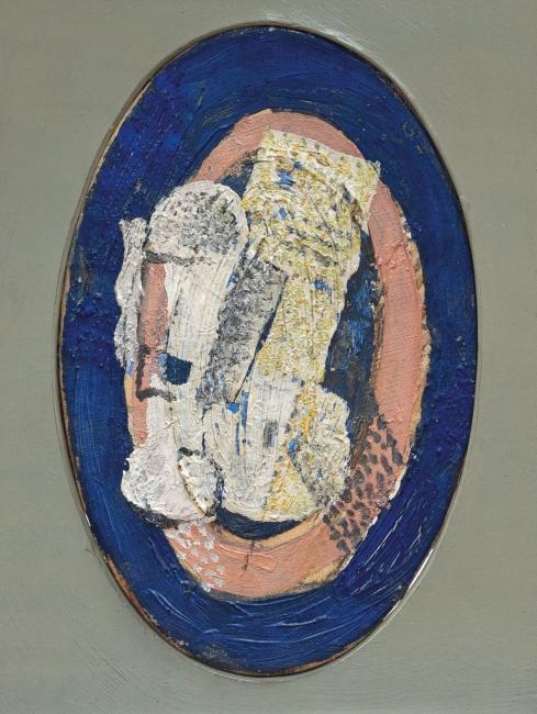 Georges Braque, La Verre [El vaso], 1918. Óleo sobre lienzo, 22 x 14 cm. Colección particular. © Foto: Dolores Iglesias © Georges Braque, VEGAP, Madrid, 2019 — Cortesía de la Fundación Juan March