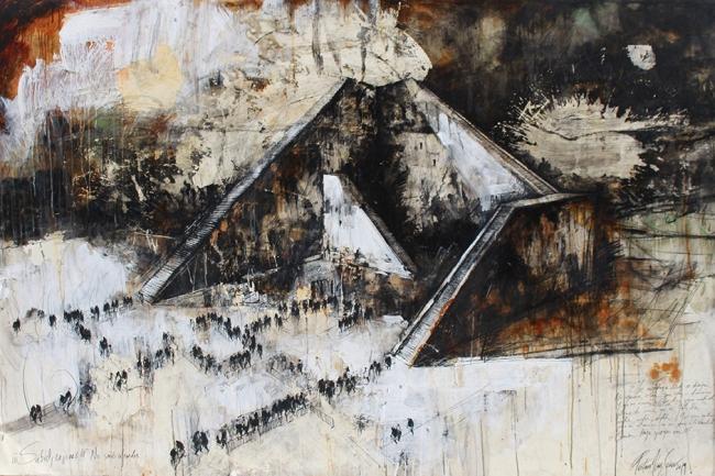 Gustavo Díaz Sosa - De la serie 'Caminos Divergentes', 2019. Técnica mixta sobre lino. 130 x 195 cm