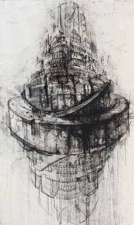 Gustavo Díaz Sosa - De la serie 'Como es arriba es abajo', 2019. Técnica mixta sobre lino. 195x114 cm. — Cortesía de Victor Lope Arte Contemporáneo