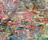 Claudio Herrera, Los asesinos del bosque mitológico. 2020. Técnica mixta sobre tela. 90x120 cm. — Cortesía de MAM Chiloé