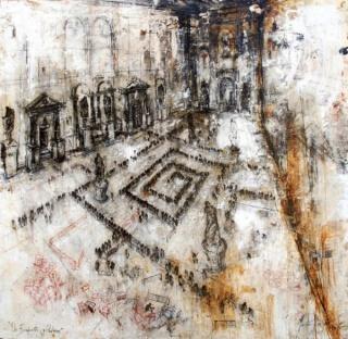 Gustavo Díaz Sosa, De la serie De Burócratas y Padrinos, 180x180 cm., mixta sobre lino, 2015