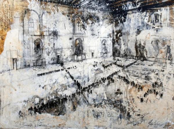 Gustavo Díaz Sosa, de la serie De Burócratas y Padrinos, 149x192 cm., mixta sobre lino, 2015