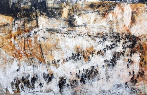 Gustavo Díaz Sosa, de la serie Éxodos de Nuevo Milenio, 144x224, mixta sobre lino, 2015
