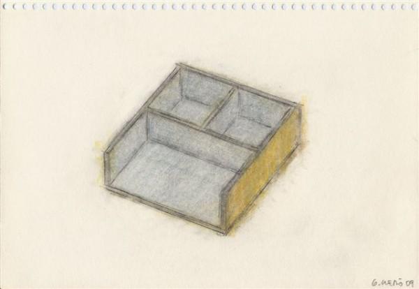 Guillermo Lledó, 2004 Estancias.  Serie de 20 dibujos. Lápices de grafito y de color / papel 14,8 x 21 cm.