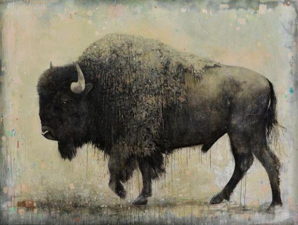 David Morago, Bisonte, 180 x 240 cm. Acrílico/madera