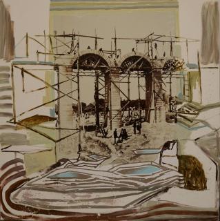 Juan Ugalde, Puente acueducto de Valdealeas, Madrid. Fotografía digital, acrílico, guache y collage sobre lienzo, 230x200cm.
