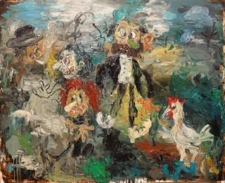 Matías Sánchez, ¡VE PELANDO PAPA. 2012. O?leo sobre tela. 130 x 162 cm. – Cortesía de García de Diego Galería de Arte