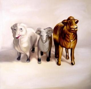 Colectivo Monómero, Año de la cabra, óleo sobre lienzo, 50x50 cm., 2018 — Corteslia de la Galería Jenny Vilà
