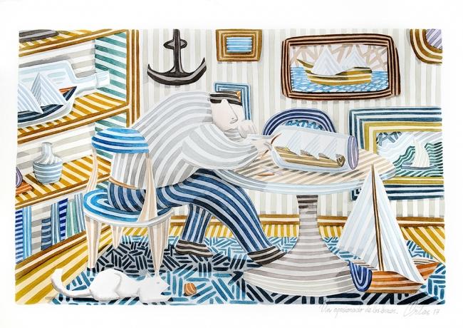 Un apasionado de los barcos, obra del pintor Javier Ortas