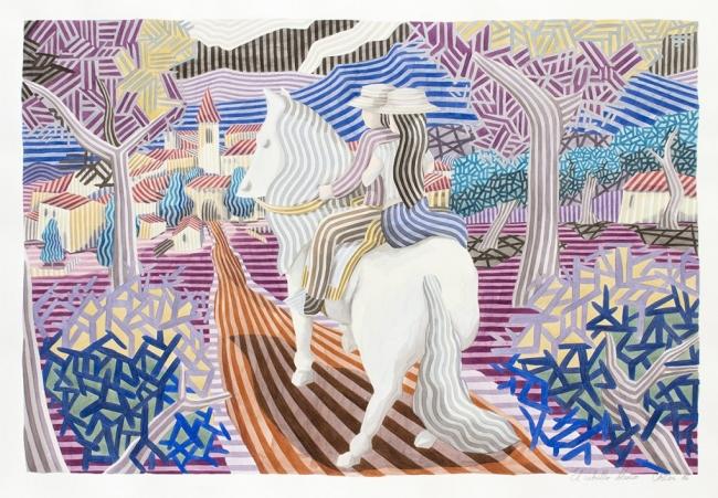 El caballo blanco, de 100 x 140 cm. Obra de Javier Ortas