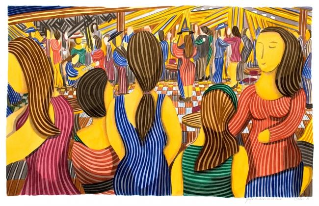 Grupo de chicas en el baile, obra del pintor Javier Ortas