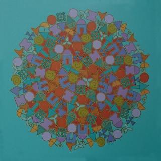 Mi Mundo. 2008. (100 x 100) cm. Óleo sobre lienzo.