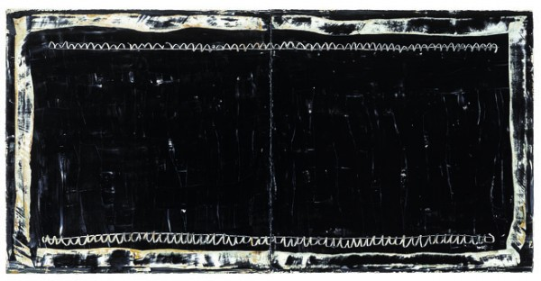Joan Hernández Pijuan, Diptic Negre, 2004, oil on canvas - dyptichon, 150 x 300 cm.
