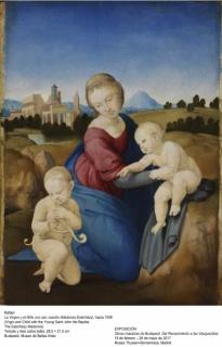 Rafael, La Virgen y el Niño con san Juanito (madona Esterházy), hacia 1508, Temple y óleo sobre tabla, 28,5x21,5 cm. Budapest, Museo de Bellas Artes