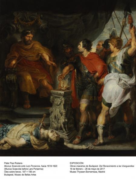 Peter Paul Rubens, Mucius Scaevola ante Lars Porsenna, h. 1618-16209. Óleo sobre lienzo, 187x156 cm. Budapest, Museo de Bellas Artes