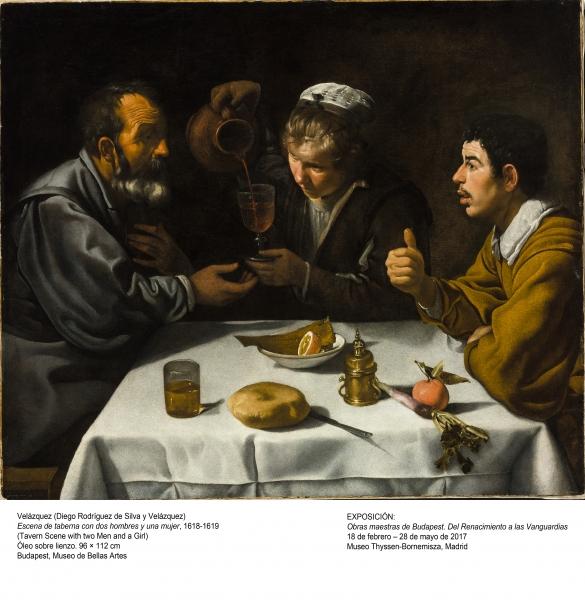 Velázquez, Escena de taberna con dos hombres y una mujer, 1618-1619. Óleo sobre lienzo, 96x112 cm. Budapest, Museo de Bellas Artes