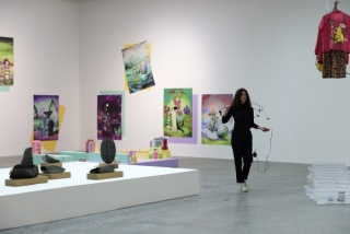 Installation view, from left to right: Gala Porras-Kim, Adriana Minoliti, Fernando Palma (with Pauline Gompertz performing for Julien Creuzet), Frac des Pays de la Loire, Carquefou, France, 2016