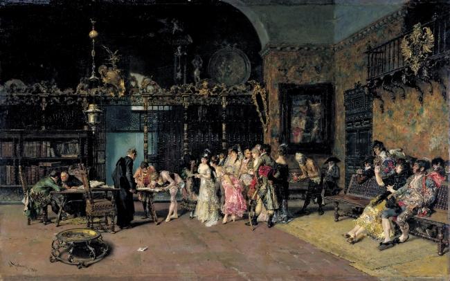 La vicaría, Mariano Fortuny. Óleo sobre tabla, 60 x 93,5 cm. Hacia 1868-1870 Barcelona, Museu Nacional d'Art de Catalunya – Cortesía del Museo del Prado