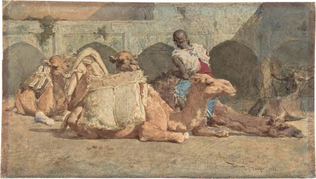 El camellero Mariano Fortuny Acuarela sobre papel, 200 x 357 mm 1865 Nueva York, The Metropolitan Museum of Art (87.15.76) – Cortesía del Museo del Prado