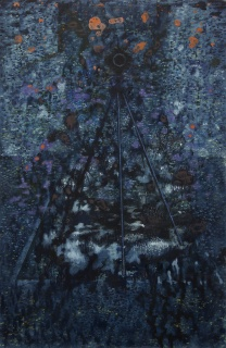 Jerónimo Elespe, Sets. Óleo sobre papel de aluminio, 38x25 cm. – Cortesía de Maisterravalbuena