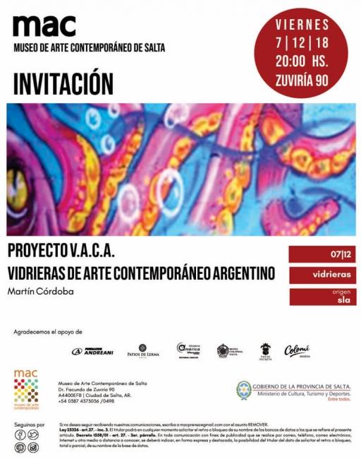 Proyecto V.A.C.A: vidrieras de Arte Contemporáneo