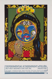 Yreina D. Cervantez, Danza Ocelotl, 1983, screenprint with glitter, 35 1/6 x 23 1/16 in., Blanton Museum of Art, The University of Texas at Austin, Gift of Gilberto Cardenas, 2017