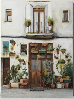 Neus Martín Royo, Carrer Adaya Vermell, oli sobre taula, 81 x 60 cm. — Cortesía de la Galeria Jordi Barnadas