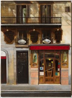 Neus Martín Royo, Cafè de l'Òpera, oli sobre taula, 100 x 73 cm. — Cortesía de la Galeria Jordi Barnadas