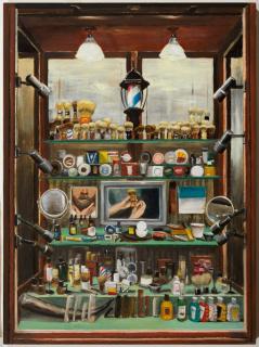 Neus Martín Royo, L'aparador, oli sobre taula, 81 x 60 cm. — Cortesía de la Galeria Jordi Barnadas