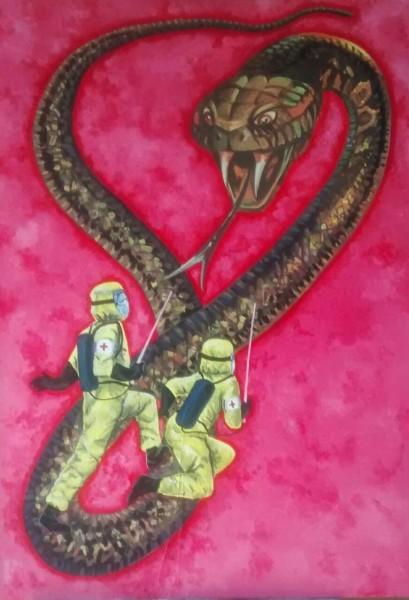 Obra de Javier Velasco presente en la exposición Nurses
