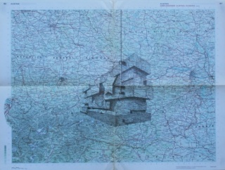 Gonzalo Elvira. La mesa de J.. Tinta sobre mapa, 70x50cm, 2015