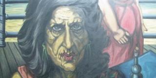 Miguel Ángel Bengochea, Mujer con botella y copa, óleo sobre tela, 100 x 100 cm, 1986 (fragmento)