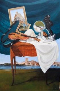 Luis Mayo, Mesa del violín. Zamora, 100 x 65 cms. 2017