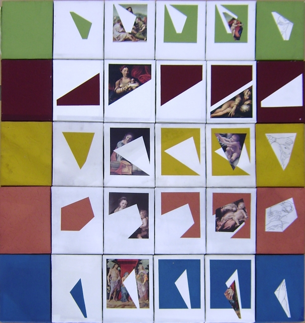 Lea Lublin. Dans la nature du modèle de l´art (En la naturaleza del modelo del arte), 1983. Acrílico, tinta,  y postal sobre lienzo,  111.5 x 98 cm