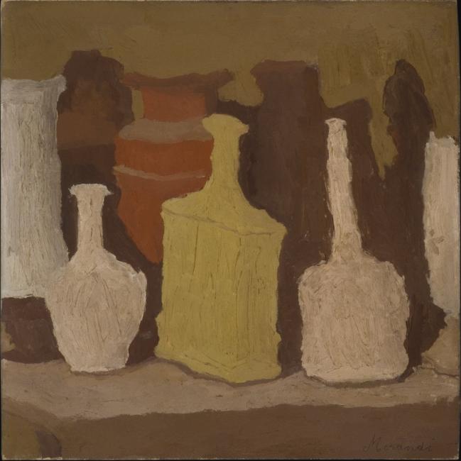 Giorgio Morandi, Naturaleza muerta (Natura morta), 1931. Óleo sobre lienzo, 42x42 cm. Fondation Mattioli Rossi, Suiza © Giorgio Morandi, VEGAP, Bilbao, 2019 — Cortesía del Museo Guggenheim Bilbao