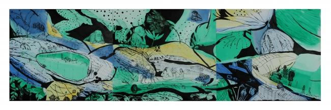 Cati Cànoves, El viatge de Leah, 2013. Acrílico y tinta china sobre madera, 40 x 135 cm (tríptico).  Colección particular