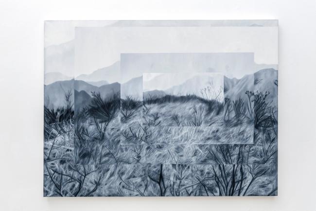 José Fiol, To lose a performance meter in an anonymous painting, 2018. Óleo sobre lino, 160 x 120 cm.  Colección particular. © de la obra, José Fiol, 2019