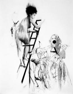 Bernardí Roig, Tableau Vivant IV (P.Q., la madre y F.B.S. bajando la escalera), 2017, Charcoal, graphite on paper, 195 x 152 cm, Photo Bernhard Roth — Cortesía del artista