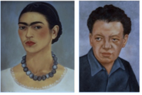Frida Kahlo, Autorretrato con collar, 1933, oil on metal, + Retrato de Diego Rivera, 1937, oil on masonite. The Jacques and Natasha Gelman Collection of 2oth Century Mexican Art, courtesy of the Vergel Foundation and the Tarpon Trust. © 2015 Banco de Méxi