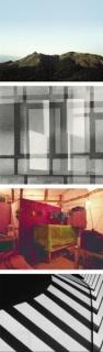 """Caio Reisewitz, """"Jaraguá F"""", 2015 Geraldo de Barros, """"Abstração"""",1950 Rochelle Costi, """"Quartos-São Paulo (10)"""",1998 Gaspar Gasparian, """"Sol Nascente"""",1953"""