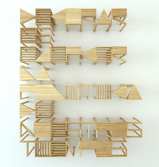 Marco Treviño, La Decoraduría, 2018. Madera de pino, 40 x 40 x 40 cm  43 piezas