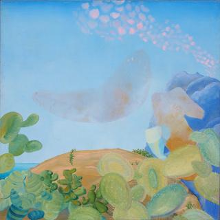 "Marta Marugan, ""Takashi estas son nuestras chumberas"" óleo sobre lienzo 130 x 130 cm. — Cortesía de Ekain Arte Lanak"