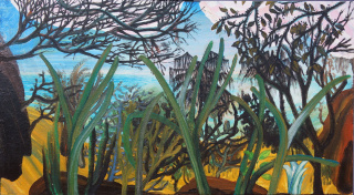 "Marta Marugan, ""Paisaje Mediterraneo"", óleo sobre lienzo 75 x 41cm. — Cortesía de Ekain Arte Lanak"