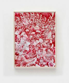 Still life in red, 2021, Acuarela y tinta sobre papel, 150 x 107 cm