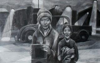 PRIMER PREMIO - HÉCTOR DESTÉFANIS, Pueblo abandonado-Carbón y tiza- 0,80 x 1,20 m- 2016