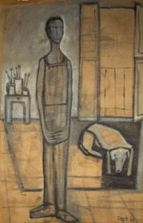 Sofía Madrigal, Autorretrato con Ofelia, Septiembre de 2010, Óleo sobre arpillera, 213 x 132 cm, Colección particular – Cortesía del Museo Esteban Vicente