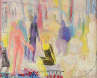 Leopoldo Presas, La Fiesta, o?leo sobre lienzo, 80x100 cm. 1982 — Cortesía de la galería Zurbarán