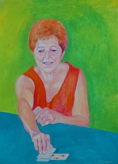 Conchi Álvarez, Anhelando el as de copas. Acrílico sobre papel, 70x50 cm. — Cortesía de STOA Gallery