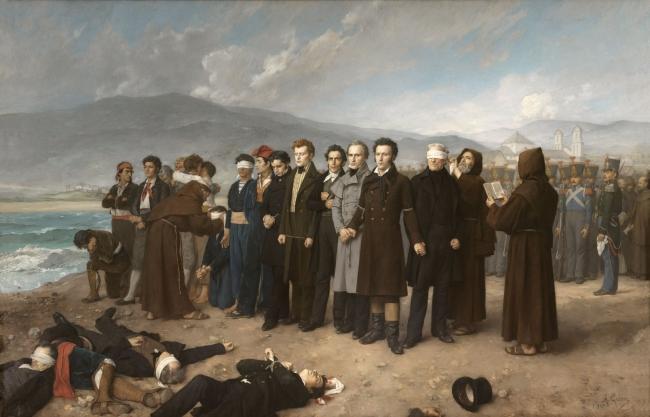 Fusilamiento de Torrijos y sus compañeros en las playas de Málaga Antonio Gisbert Pérez Óleo sobre lienzo 390 x 601 cm. 1888 Museo Nacional del Prado — Cortesía del Museo del Prado